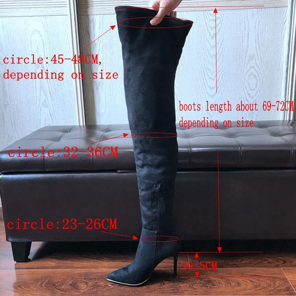 10.5CM Heels Women Shoes Dress Over Knee Winter Boots Woman Faux Suede Leather Boot Womens Thigh High Boots Ladies Snow Shoe