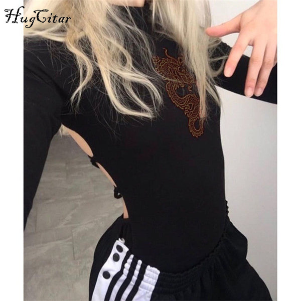 long sleeve high neck backless bandage sexy dragon pattern print bodysuit