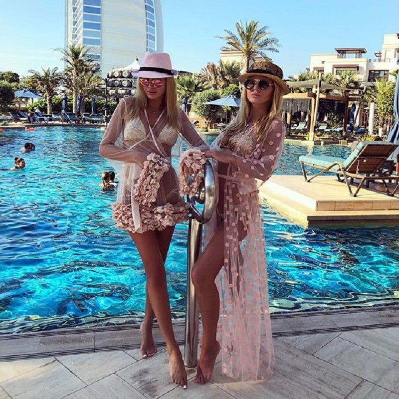 Bikini Cover up Swimwear Women Mesh See Through Long Cardigan Pareo Beach Dress Kaftan Chiffon Playa