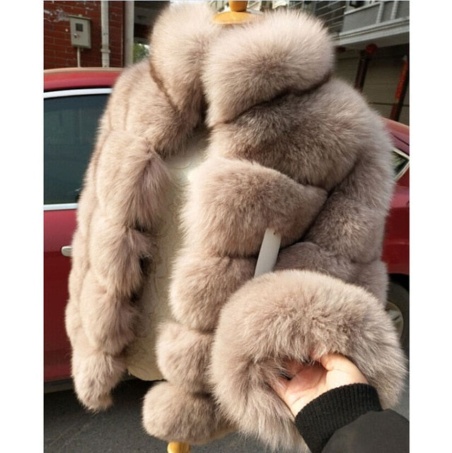 FURSARCAR Fashion Luxury Real Fur Coat Women Winter  High Quality Short Fox Jacket With Fur Collar Thick Warm Genuine Fur Coats