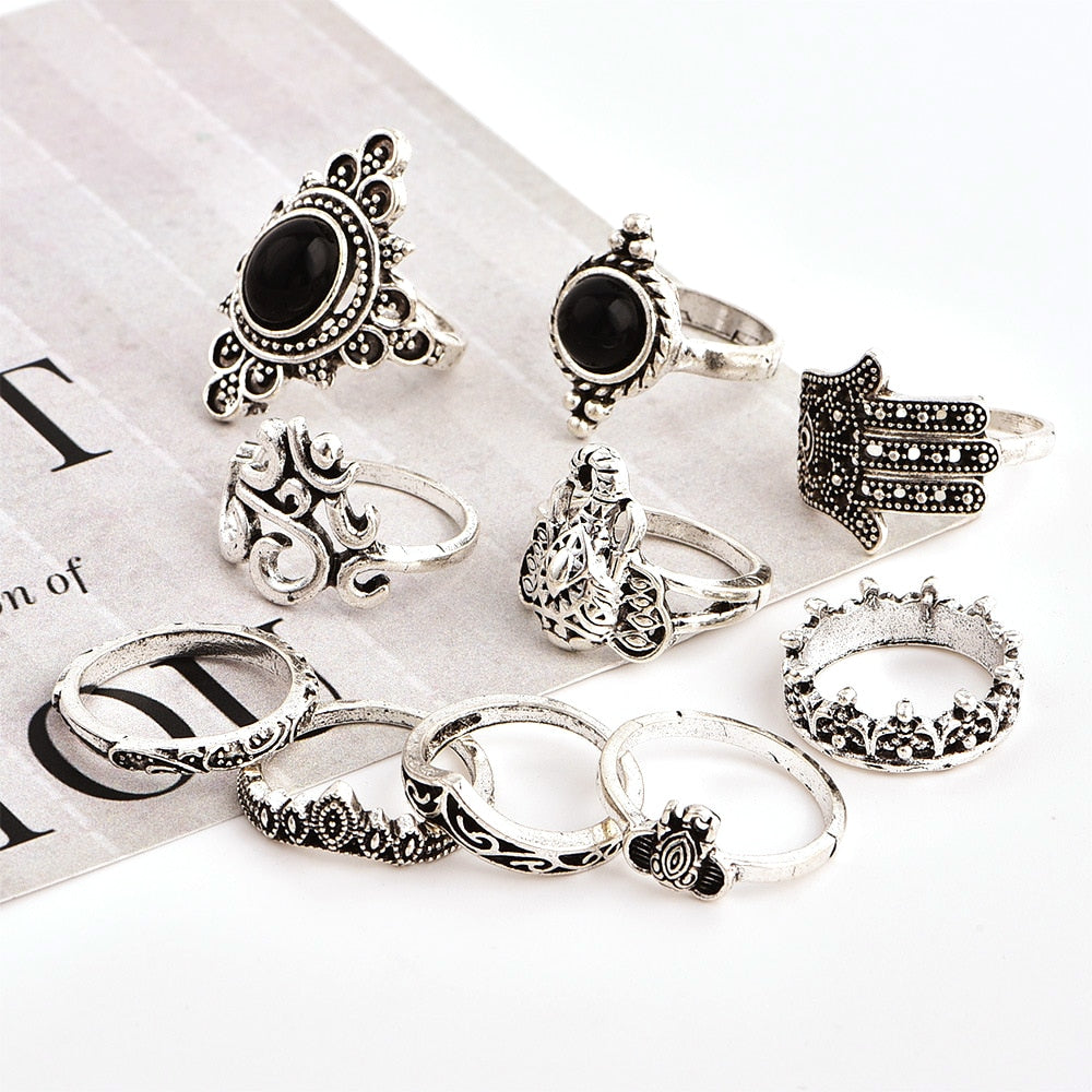 10 Pcs/set Bohemian Retro Elephant Crown Flower Black Gem OM Yoga Fatima Adjustable Silver Ring Vintage Jewelry Accessories
