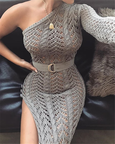 Crochet one shoulder beach long dress sexy women hollow out cover ups high split bikini swimsuit cover up Tunic