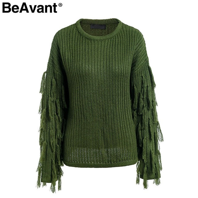 BeAvant Tassel knitted sweater women pullover loose Casual army green winter sweater female O neck  autumn jumper pull femme