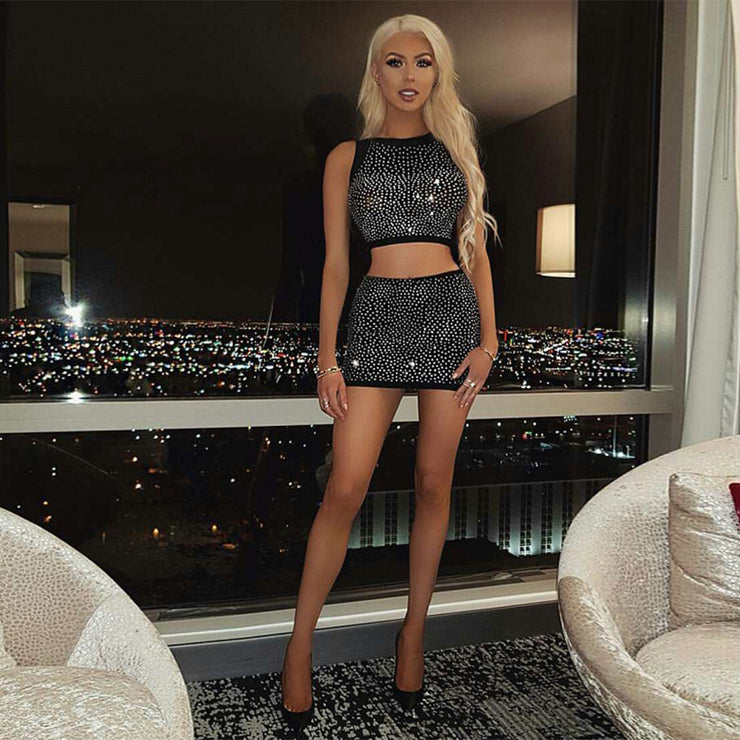two-piece mini dress 2020 new sexy sleeveless celebrity party bandage