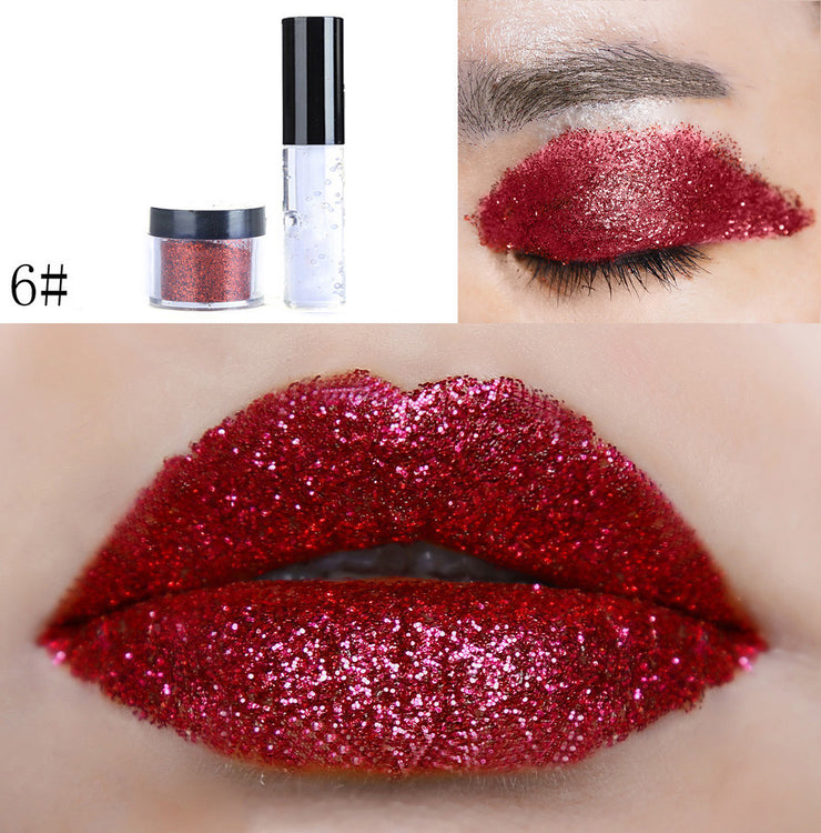 Shimmer Glitter Lip Gloss Powder Palette Glitter Lipstick Cosmetic Eye Shadow mate lipstick waterproof nude long last lip stick