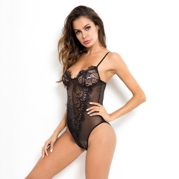 lace sexy bodysuit straps hollow out transparent jumpsuit women