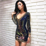 Summer new women dress long sleeves strapless dress sexy bodycon sequined celebrity party gold blue green dresses vestidos