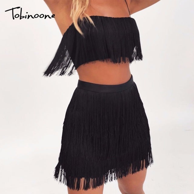 New Women Summer Tassel Dress Elegant Club Party Dress Sexy Off Shoulder Tassel Embellished Mini Fringe Dress
