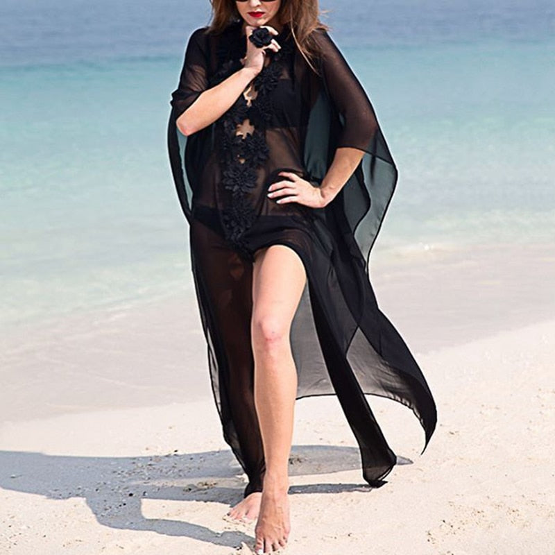 Dress Beach Cover up Dress Lace Beach Tunic Pareos Swimwear Women 2018 Bikini Cover up Chiffon Swimsuit Cover up White Black
