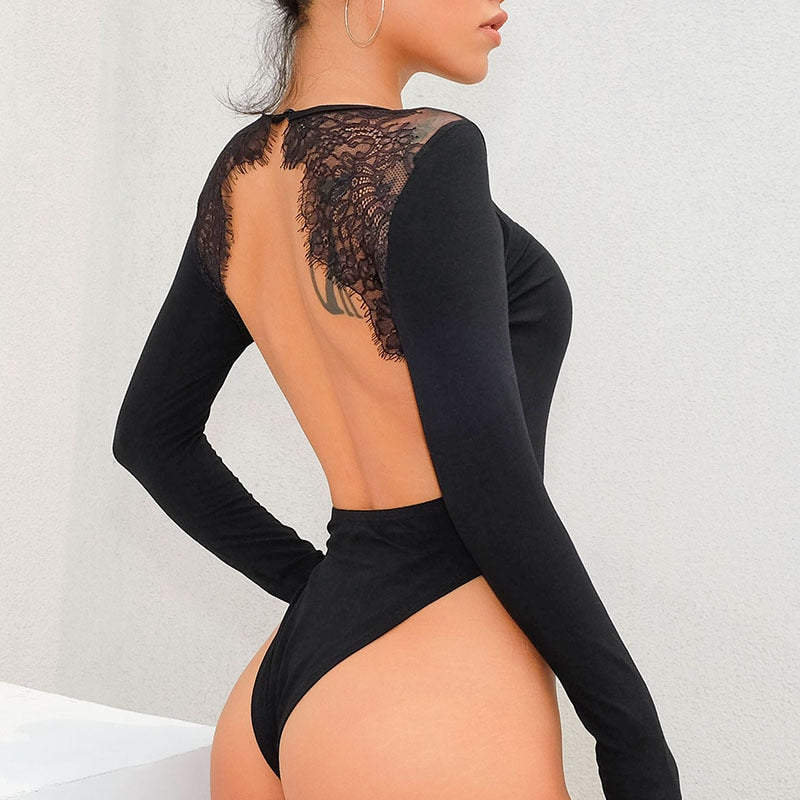 Cotton patchwork sexy lace backless bodysuit long sleeve jumpsuit autumn female rompers streetwear fashion tops