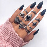 7 Style Vintage Knuckle Rings for Women Boho Geometric Flower Crystal Ring Set Bohemian Midi Finger Jewelry Bague Femme