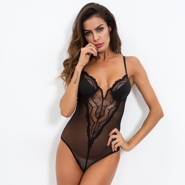 Black Lace Mesh Wired V Bodysuit