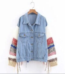 boho BLUE Cotton Denim jacket for women  chic Spliced sweaterlong sleeve Hippie warm winter jackets Coat Outerwear