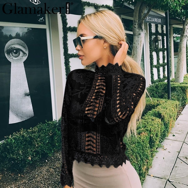Women tops elegant hollow out blouse Winter tops