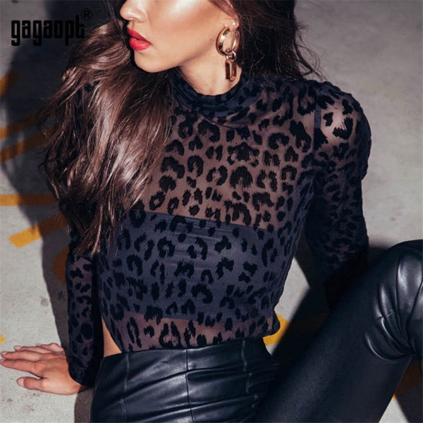 Leopard Bodysuit Long Sleeve Sexy Bodysuit Women Black Fashion Animal Print Mesh
