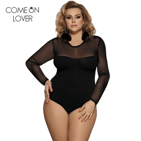 Comeonlover lace up bodysuit floral see through sexy women rompers teddy plus size body long sleeves slim mesh bodysuit