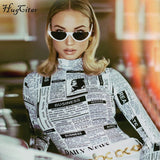 long sleeve high neck letters print sexy bodycon bodysuit