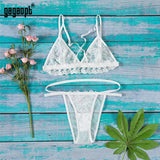 Lingerie Sexy Embroidery Lace Bra Set ( Seamless Bra + Panties) Bralette Perspective Women Underwear Set