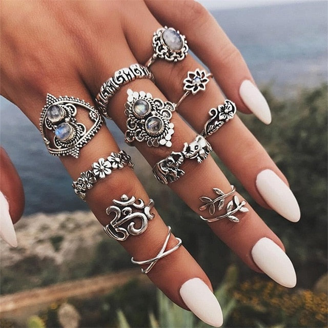 11 pcs/set Bohemian retro elephant flower leaves cross exaggerated gem silver ring set women Wedding Party Jewelry Accessories