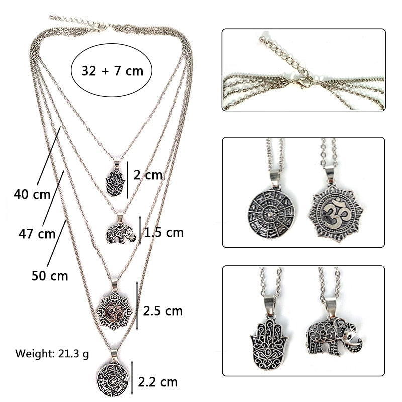 Boho Elephant Palm Om Compass Pendant Multilayer Necklace Women Personality Silver Chain Long Necklace Charm Jewelry Gift