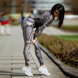 Simenual Snake print body overalls fashion winter bandage women's jumpsuits long pants serpentine patchwork rompers sexy