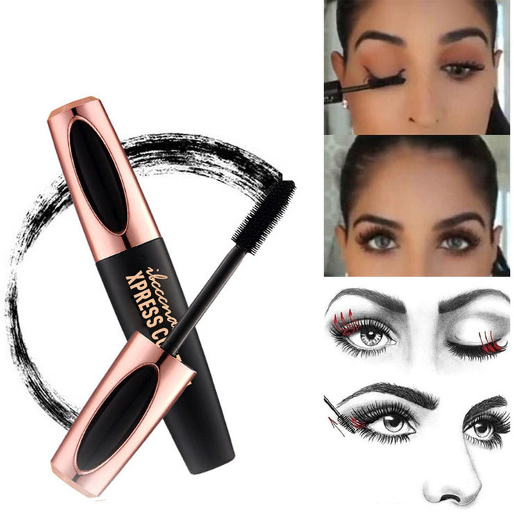 4D Silk Fiber Eyelashes Lengthening Mascara Waterproof Long Lasting Lash Black Eyelashes Extension Make up 3D Mascara