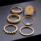 6 pc/set Bohemian Gold Color Eye Flower Rings Set for Women Geometric Alloy Knuckle Midi Rings Boho Jewelry