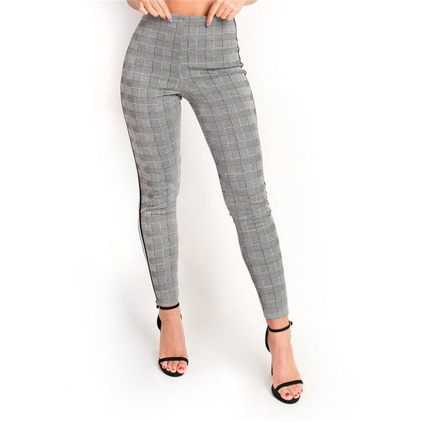 Elastic Stretchy Side Striped Plaid Pencil Pants Women Casual Autumn Women Trousers Elastic Waist Tweed Slant Elegant