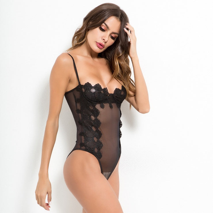 lace bodysuit mesh transparent jumpsuits for women one piece