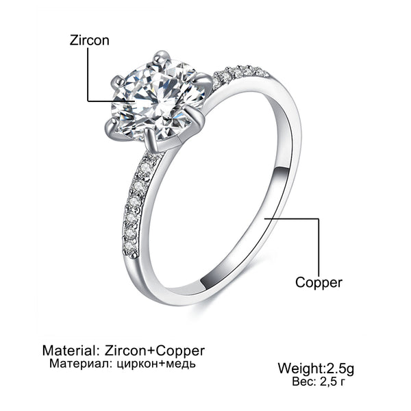 Classic Engagement Ring 6 Claws Design White Cubic Zircon Female Women Wedding Band Rings Jewelry