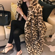 Classic Leopard Print Color Faux Fur Coat Women Long Thick Warm Jackets Fluffy Star Style Overcoats Winter Street Outerwear