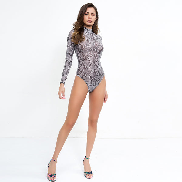 Snake Costume Turtleneck Long Sleeve Bodysuit Women See Through Sexy Bodysuits Party Club Bodycon Leopard Top