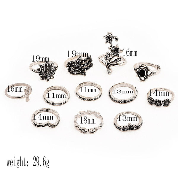 12 Pcs/ Set  Bohemian Lotus Leaf Cross Waves Fatima Eye Gem Silver Joint Ring Set Women Charm Party Dress Ornament Gift