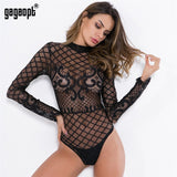 Lace Bodysuit Women Mesh Ladies Elegant Floral Embroidery Sexy Bodysuit Long Sleeve Jumpsuit Overalls