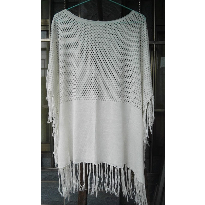 a28476fff9 ... Summer Cover Up Beach Women Swimwear Hollow Crochet Bikini Cover Ups  White Loose Tassels Pareos Beach ...