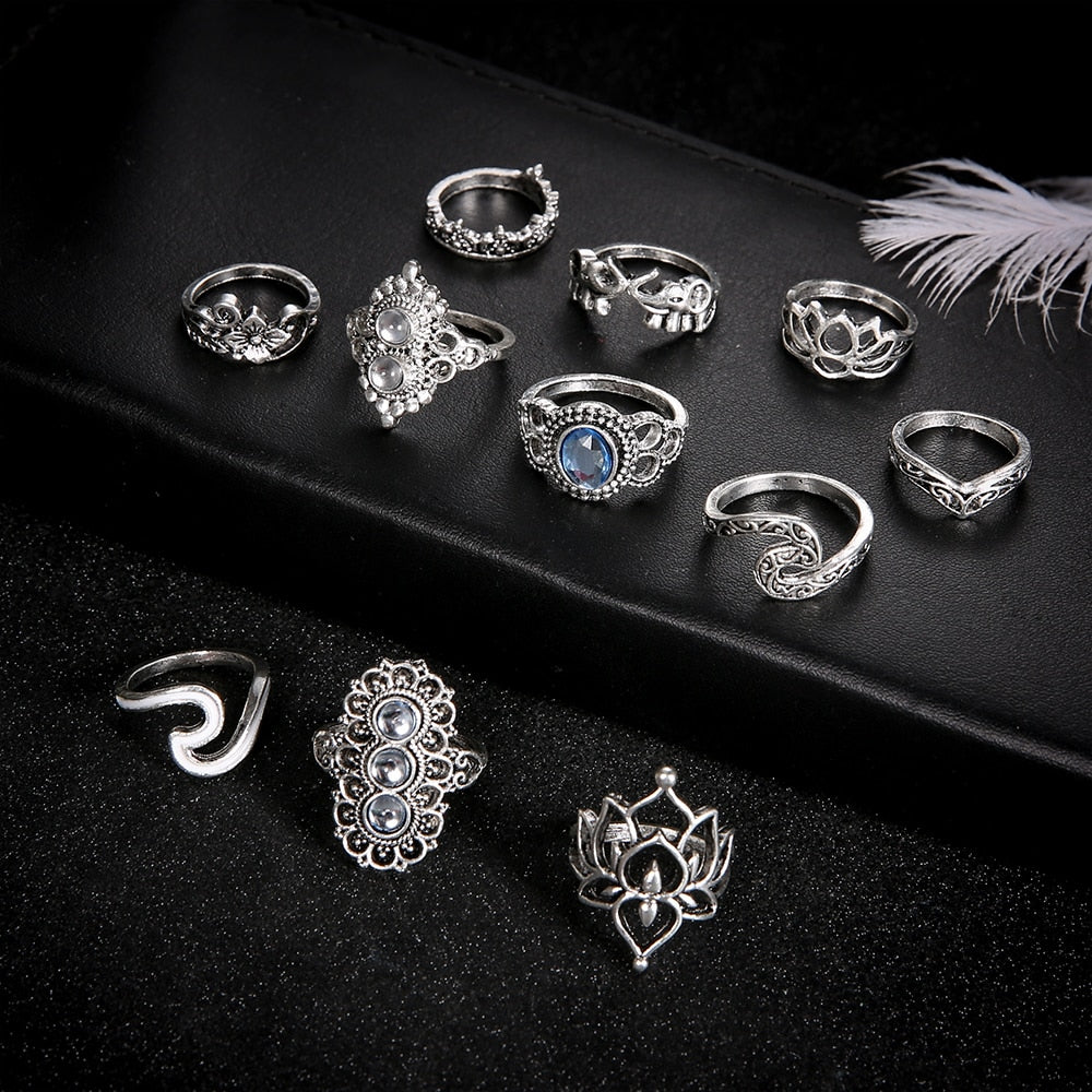 11 Pcs/set Bohemian Beach Retro Elephant Hollow Lotus Wave Gems Geometry Crystal Ring Set Women Charm Jewelry Accessories