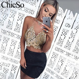 Halter gold embroidery crop top Women transparent mesh lace up top cami Party club summer sexy camisole tank top