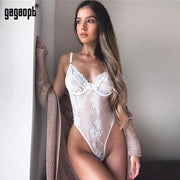 Lace Bodysuit Women Floral Embroidery Bow Tie Hollow Out Sexy Bodysuit Jumpsuit Overalls Party