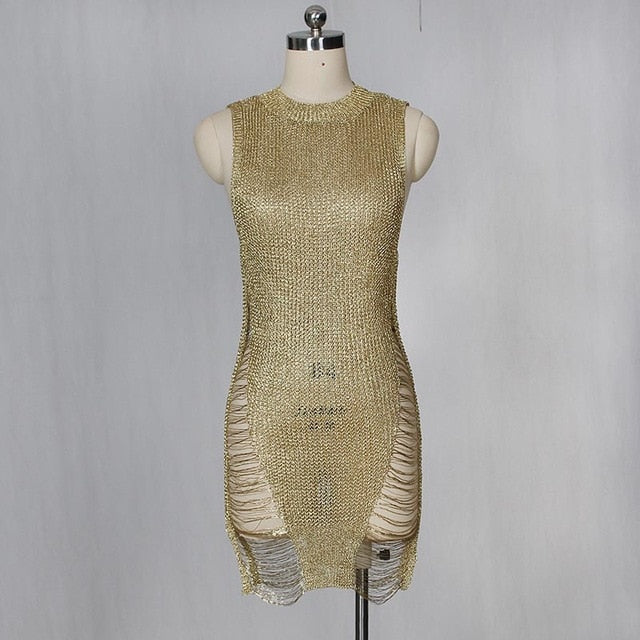Sexy Sleeveless See Through Gold Metallic Distressed Knitted Beach Dress Covers Women Stretchy Mesh Dress Clubwears