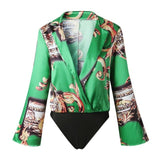 Elegant Floral Print Satin Bodysuit Shirt Women Deep V Neck Long Sleeve Jumpsuit Romer Summer Streetwear Vintage Loose Tops