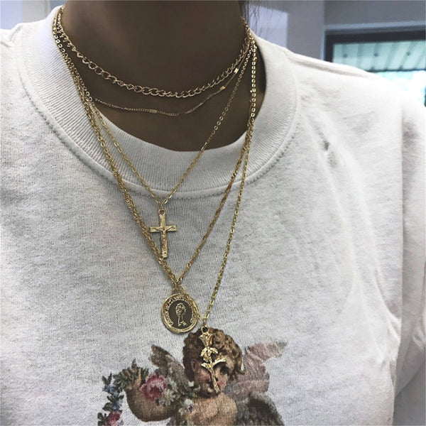 Women Bohemian Retro Round Cross Rose Pendant Gold Clavicle Chain Personality Multilayer Necklace Set Fashion Birthday Gift
