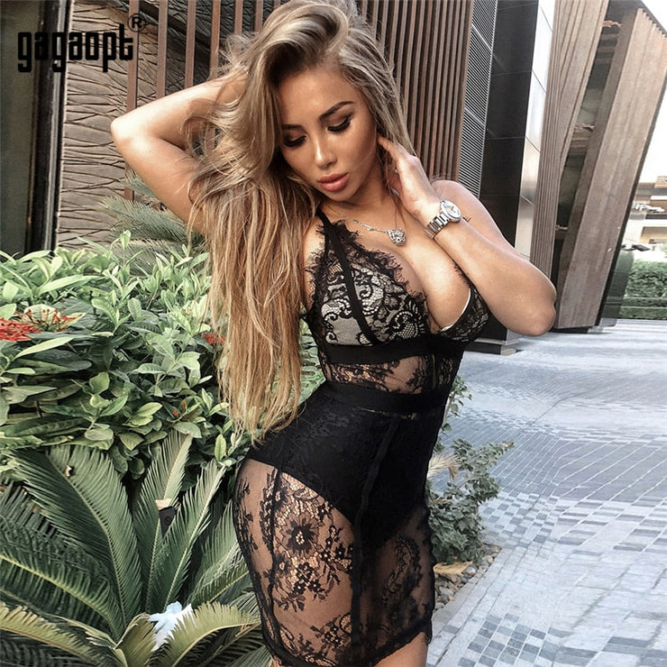 Lace Dress Women Fashion Perspective Mesh Slim Dresses V Neck Sexy Dress Club