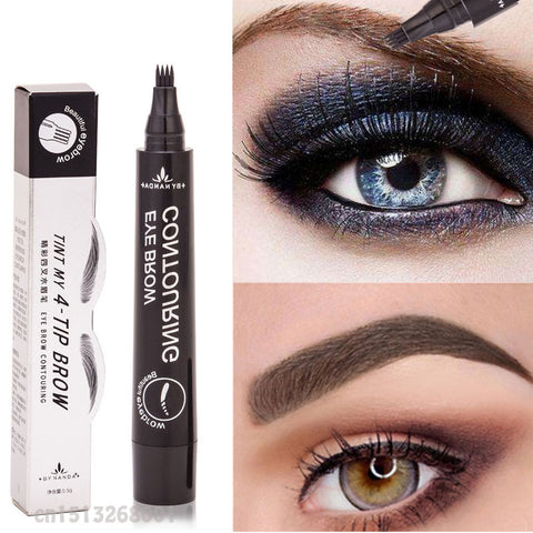 Makeup Microblading Tattoo Eyebrow Pencils Waterproof Fork tip Eyebrow Tattoo Pen 4 Head Fine Sketch Enhancer Cosmetics