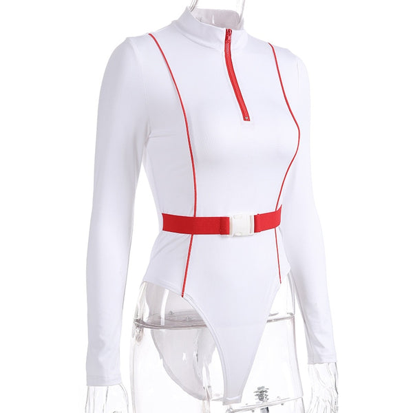Front Zip Buckle Long Sleeve Bodysuit Streetwear White Color Block Bodycon Sexy Body Suits for Women Top