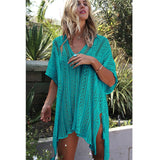 New Beach Cover Up Bikini Crochet Knitted Tassel Tie Beachwear Summer Swimsuit Cover Up Sexy See-through Beach Dress