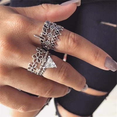 Bohemian Antique Silver Ring Geometric Elephant Flower Green Rhinestone Knuckle Rings Midi Finger Anel Rings Jewelry