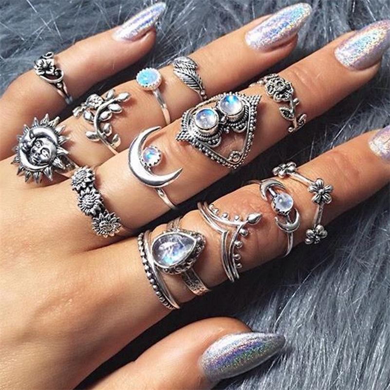 14 Pcs/set Women Vintage Crystal Moon Flower Leaves Water Drop Tarot Symbol Irregular Joint Ring Punk Charm Silver Ring Set