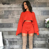 Ohvera Sweater Two Piece Set  Knitted Long Sleeve Crop Tops And Bodycon Shorts Suit Winter Sexy 2 Piece Set Women Outfits