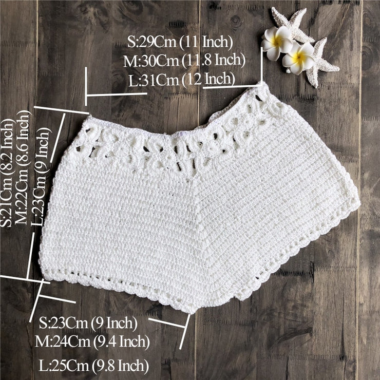 summer Handmade Crochet  Beach Shorts sexy women hollow out bikini swimsuit cover ups pants 5 colors
