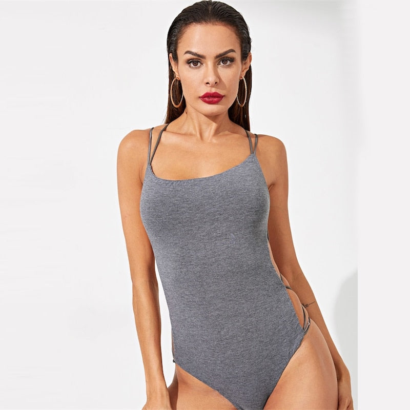 Bodysuit Women Black Sleeveless